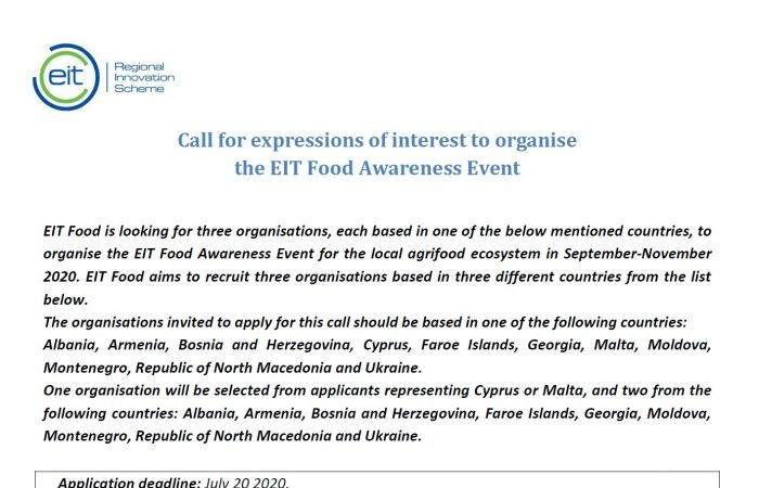 Call for expressions of interest to organise the EIT Food Awareness Event