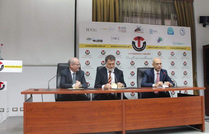 Nënshkrimi i marrëveshjes së Bashkëpunimit midis Universitetit të Tiranës dhe Qendrës Ndërkombetare për Rrjetin e Astrofizikës Relative (ICRANET).