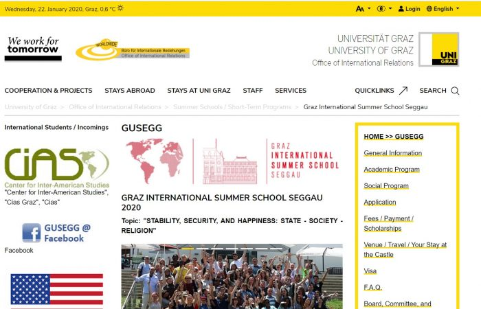 "Universiteti i Graz, Austri, organizon ""INTERNATIONAL SUMMER SCHOOL SEGGAU 2020""."