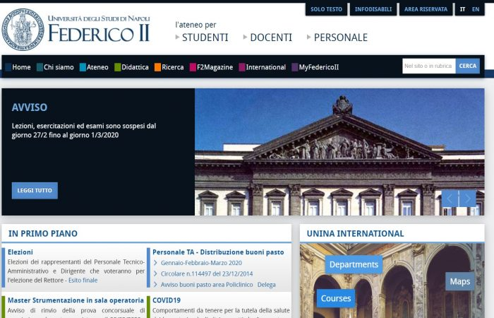 Shtyhet thirrja për aplikime në Universitetin e Studimeve të Napolit Federico II, Itali