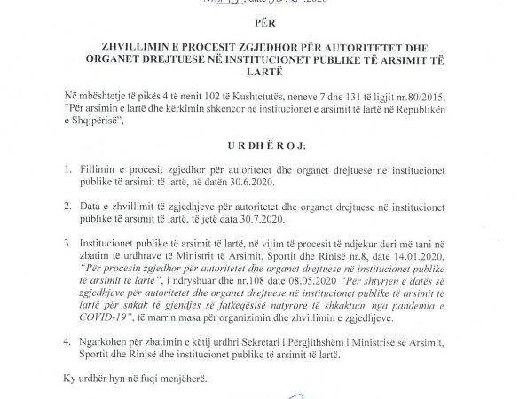 """Urdhër nr. 175, datë 30.6.2020, i Ministrit të Arsimit, Sportit dhe Rinisë, """"Për zhvillimin e procesit zgjedhor për autoritetet dhe organet drejtuese në institucionet publike të arsimit të lartë"""""""