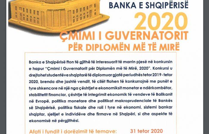 Banka e Shqipërisë fton të gjithë studentët shqiptarë të diplomuar brenda dhe jashtë vendit gjatë periudhës tetor 2019 – tetor 2020, të konkurojnë me temat e tyre të diplomës