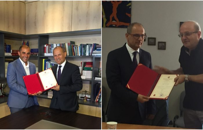 Ceremonitë eemërimit të drejtuesve të njësive kryesore përkatësisht në Fakultetin e Drejtësisë dhe në Fakuletin e Shkencave Sociale.
