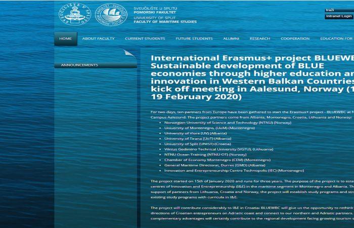 Sustainable developmentof BLUE economies through higher education and innovation in Western BalkanCountries BLUEWBC