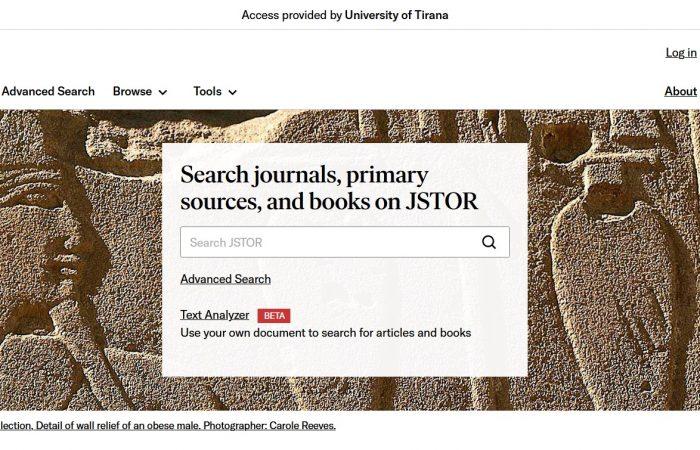 Lajm i mirë për të gjithë studentët dhe stafin e Universitetit të Tiranës përsa i përket bibliotekës digjitale JSTOR!