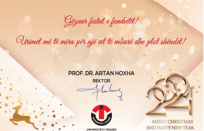 Urimi i Rektorit Prof. Dr. Artan Hoxha me Rastin e Festave të Fundvitit