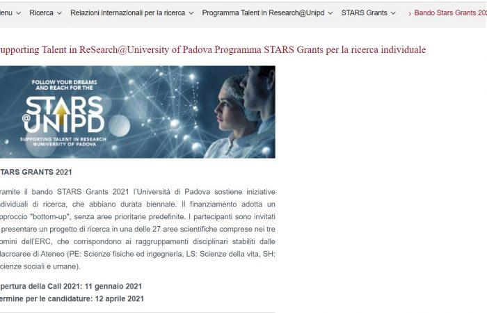 Universiteti i Padovas 2021 në Itali ka informuar mbi hapjen e edicionit të tretë të thirrjes STARS.