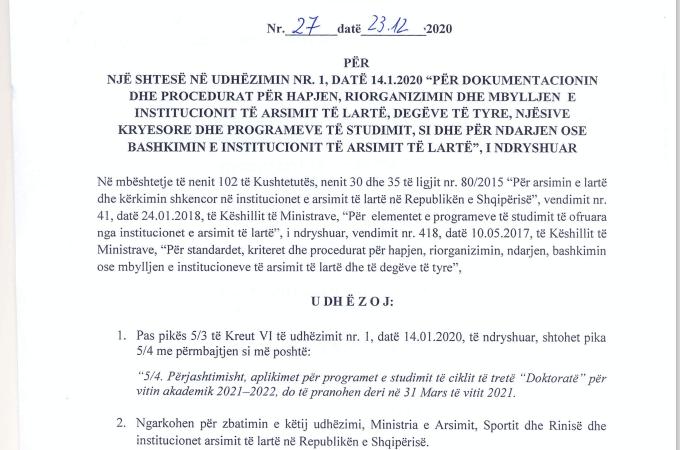 Udhëzimin nr. 27, datë 23.12.2020 Për një shtesë nëUdhëzim nr. 1, datë 14.01.2020
