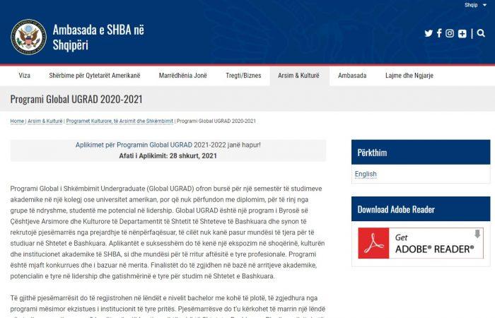 Ambasada e Shteteve të Bashkuara të Amerikës nëpërmjet Zyrës së Marrëdhënieve me Publikun do të organizojë seanca informuese online rreth Programit Global Ugrad.