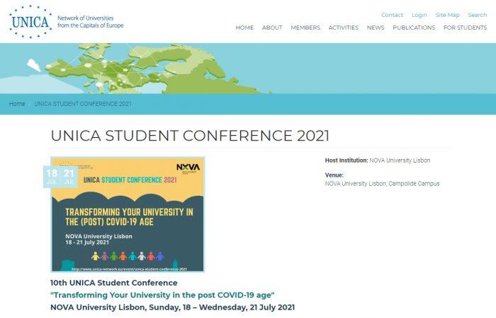 """Hapet thirrja për aplikim për studentët e Universitetit të Tiranës për të marrë pjesë në Konferencën e 10të Studentore të UNICA me temë """"Transforming Your University in the post COVID-19 age"""" në datat 18 –21 Korrik 2021!"""