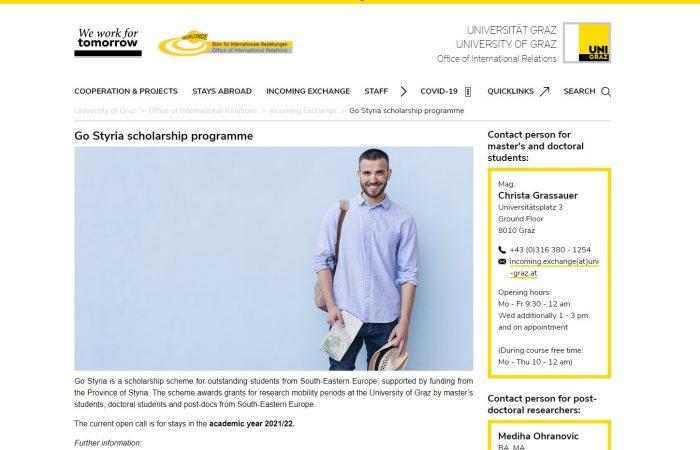 Hapet thirrja për bursa studimi dhe hulumtimi në Universitetin e Grazit për vitin akademik 2021 – 2022!