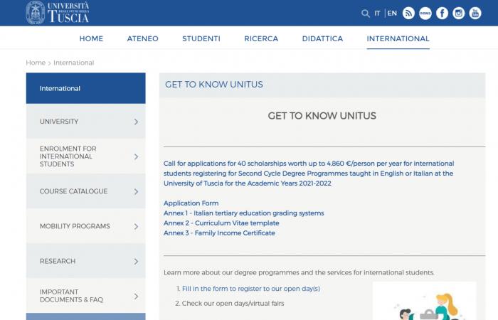Universiteti i Tuscias në Itali ka hapur thirrjen për aplikime për bursa për studentët ndërkombëtarë, për nivelin Master.
