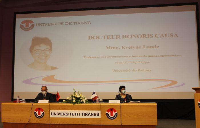 """Sot më datë 03.06.2021, Senati Akademik i Universitetit të Tiranës nderoi me titullin """"Doctor Honoris Causa"""" Prof. Evelyne Lande"""