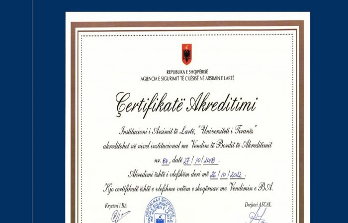 Akreditimi periodik të Institucionit të Universitetit të Tiranës