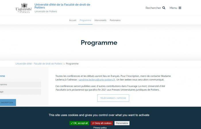 """Fakulteti i Drejtësisë i Universitetit të Poitiers në Francë do të organizojë Konferencën Verore 2021 me temë """"La mort""""."""
