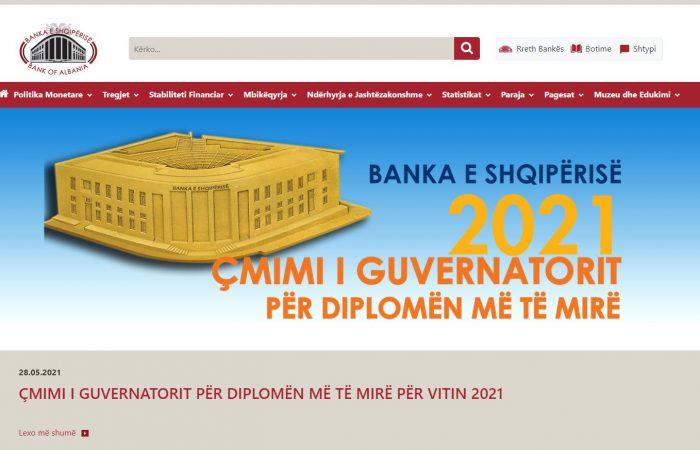 """Banka e Shqipërisë ka hapur konkursin """"Çmimi i Guvernatorit për Diplomën më të Mirë 2021"""""""