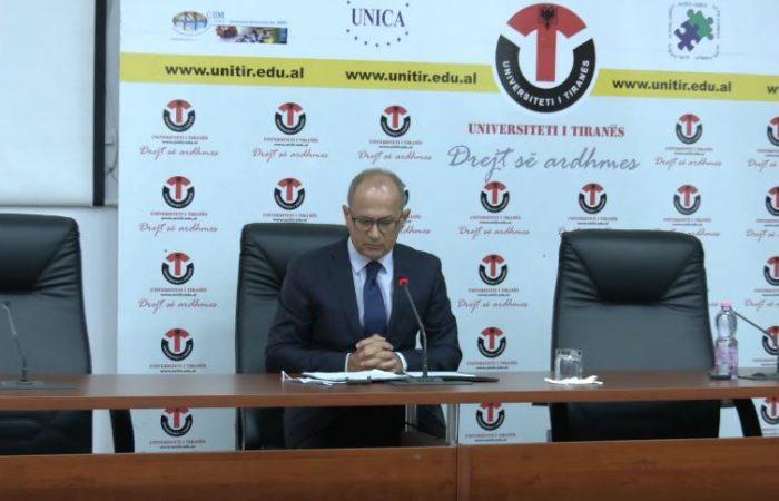 Konferencë për shtyp e Rektorit të Universitetit të Tiranës, Prof. Dr. Artan Hoxha